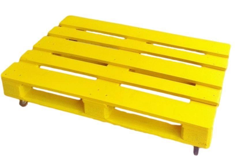 Paletten Couchtisch in gelb 120x80x24cm