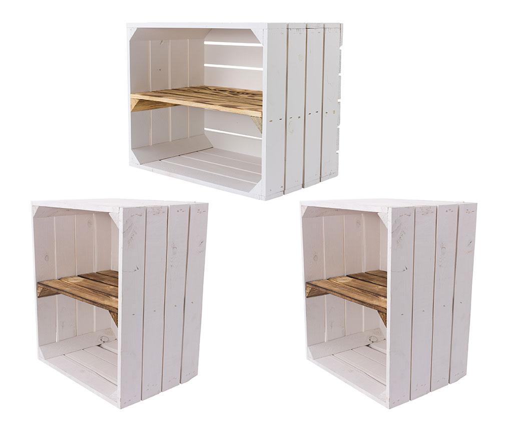3 Weiße Holzkisten mit geflammtem Mittelbrett 50x40x30cm
