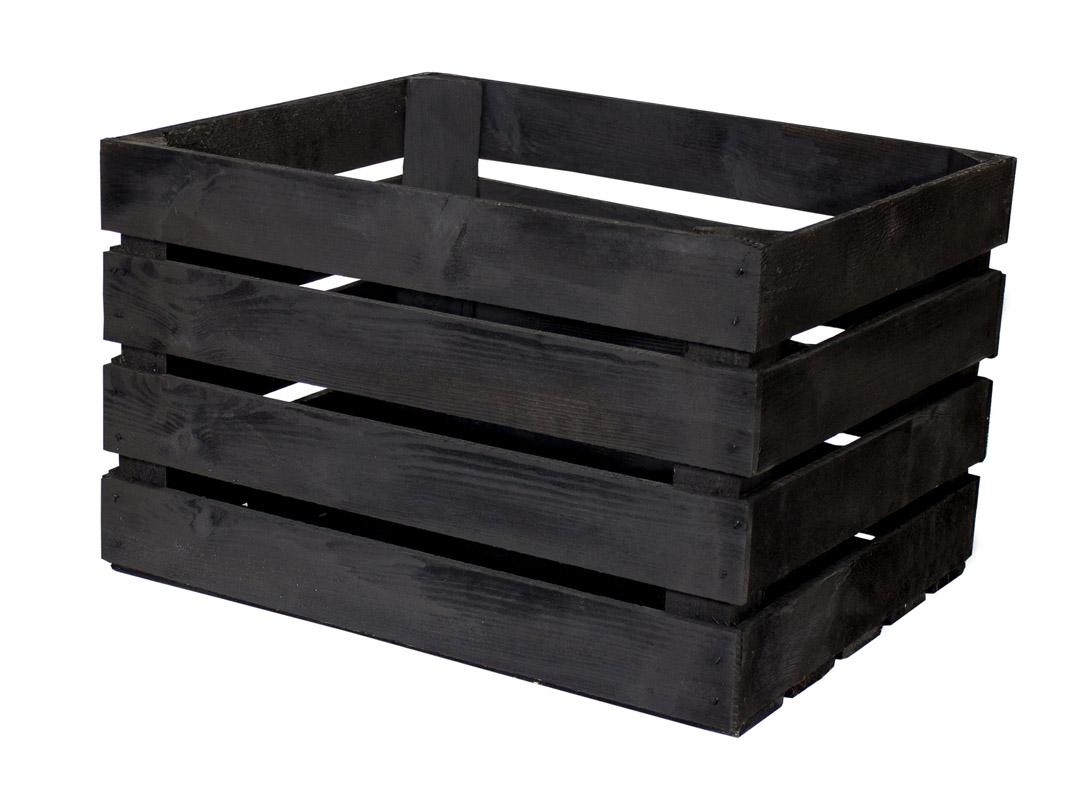 Schwarze Apfelkiste 50x40x30cm