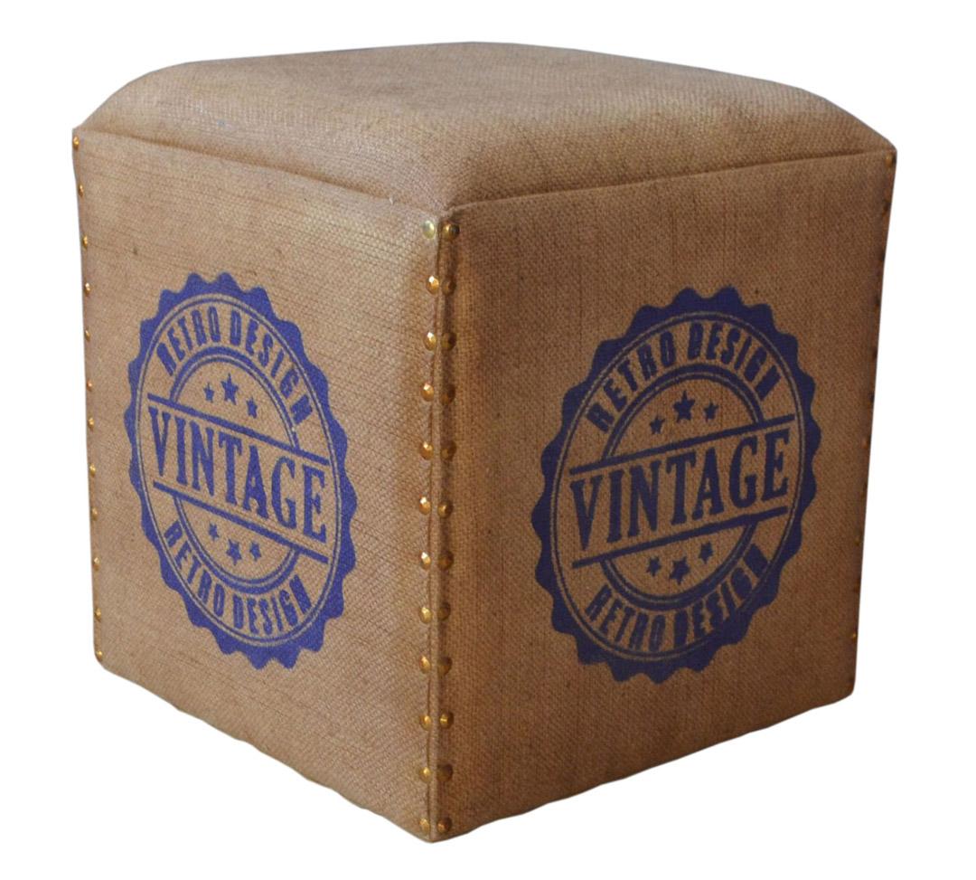 hocker mit vintage aufdruck 36x36x36cm ebay. Black Bedroom Furniture Sets. Home Design Ideas