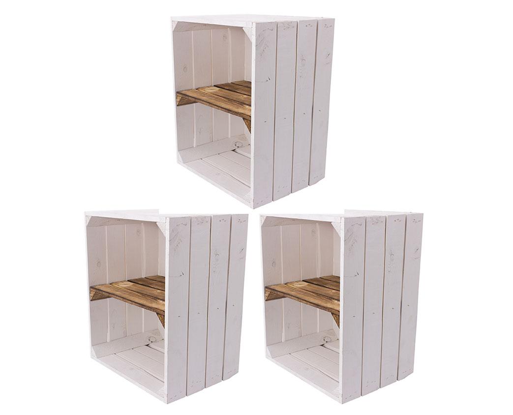3 Weiße Holzkisten mit geflammtem Mittelbrett -kurz- 50x40x30cm