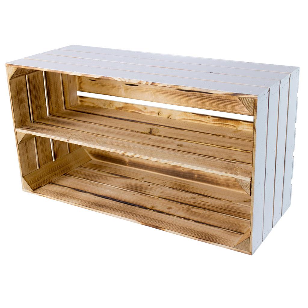 Breite Regalkiste außen weiß innen geflammt 74,5x40,5x31cm