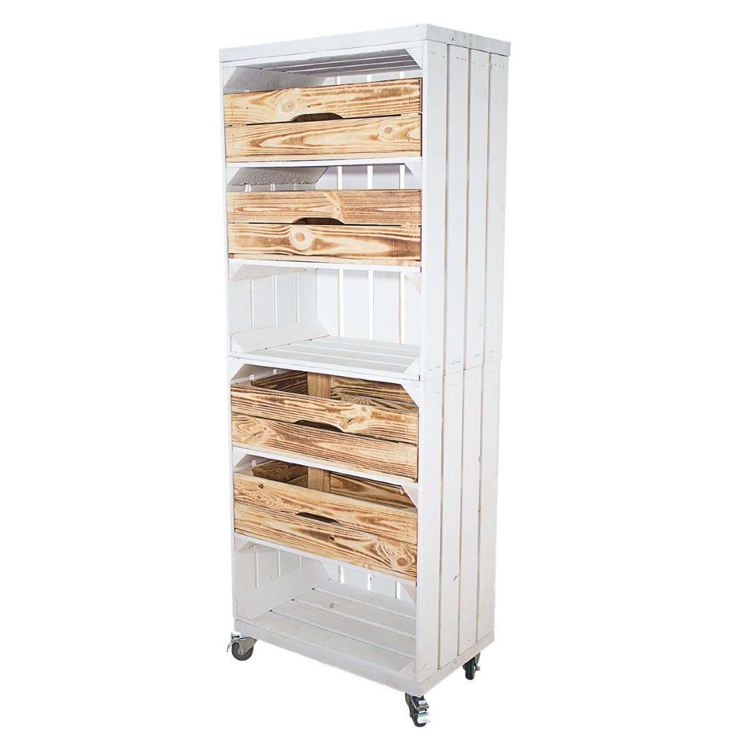 Regal aus zwei hohen weißen Obstkisten mit vier geflammten Schubladen und zwei Bohlenbrettern in Weiß, auf Rollen 135x50x30cm