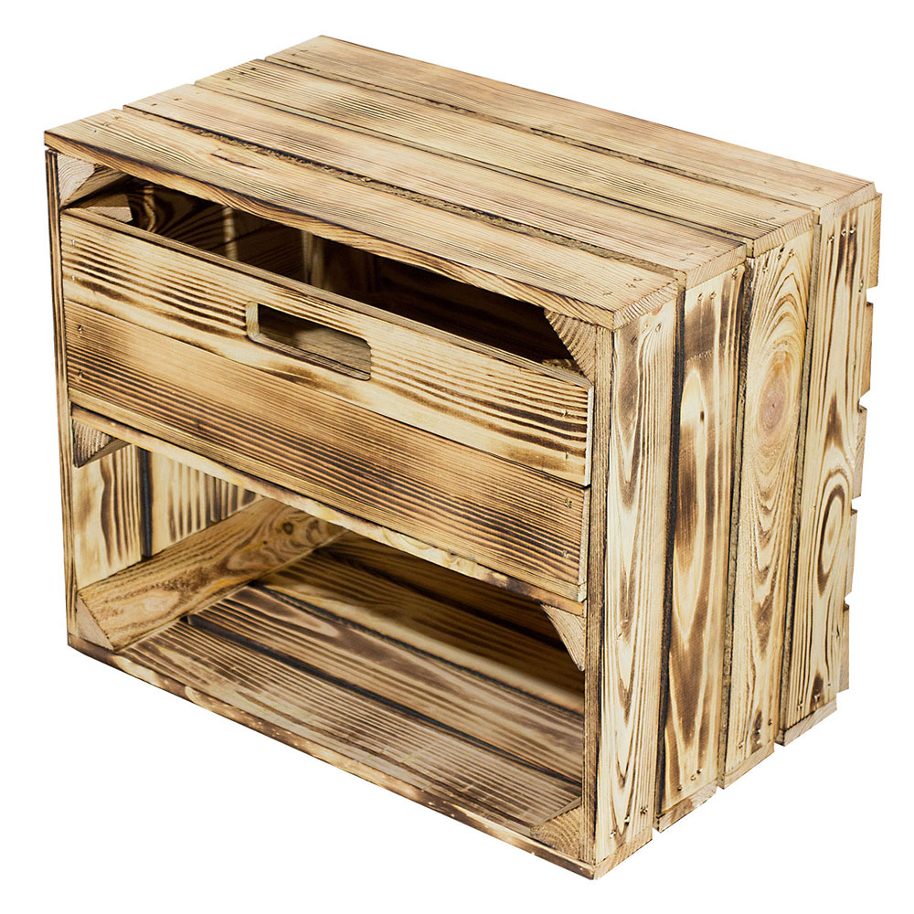 Geflammte Kiste mit Schublade 50x40x30cm
