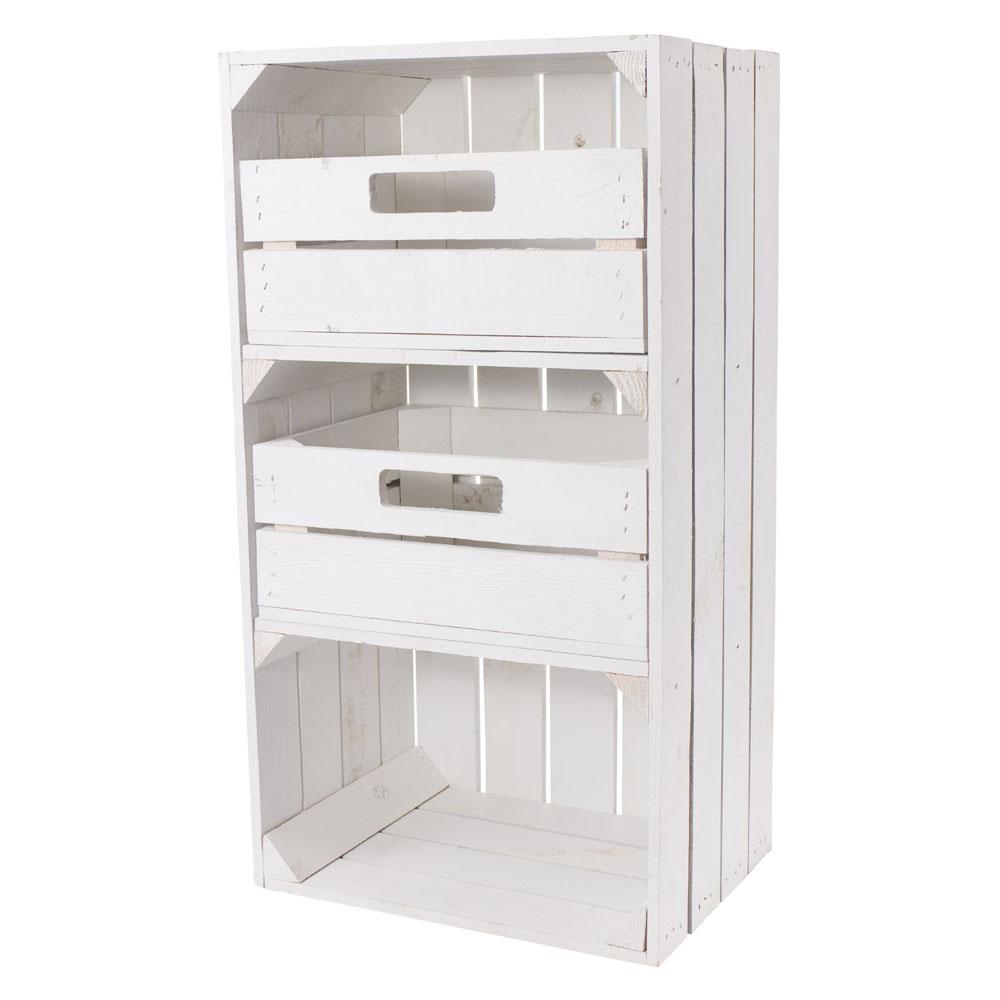 Weiße schmale Regalkiste mit Schubladen 68x40x31cm