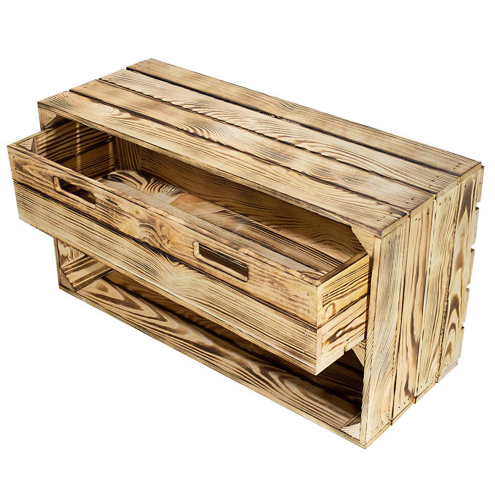 Breite geflammte Kiste mit Schublade 74,5x40,5x31cm