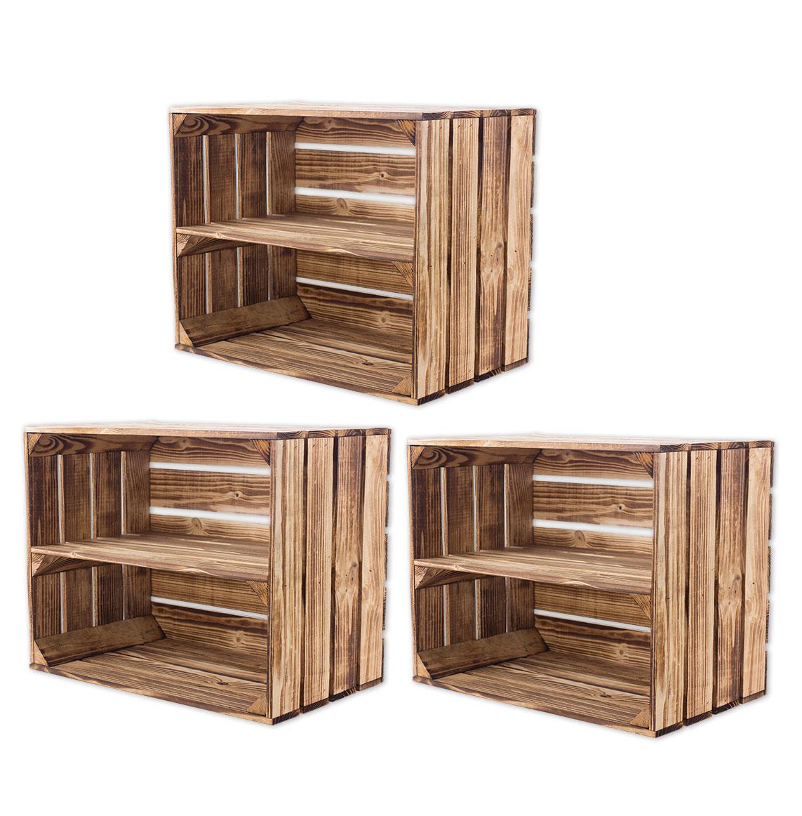 Gemisches Set aus geflammten Holzkisten mit Mittelbrett 50x40x30cm
