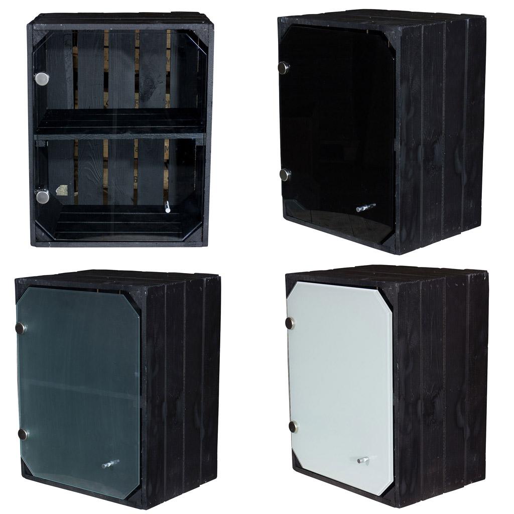 Schwarze Holzkiste mit Glastür und Mittelbrett -quer- 50x40x30cm
