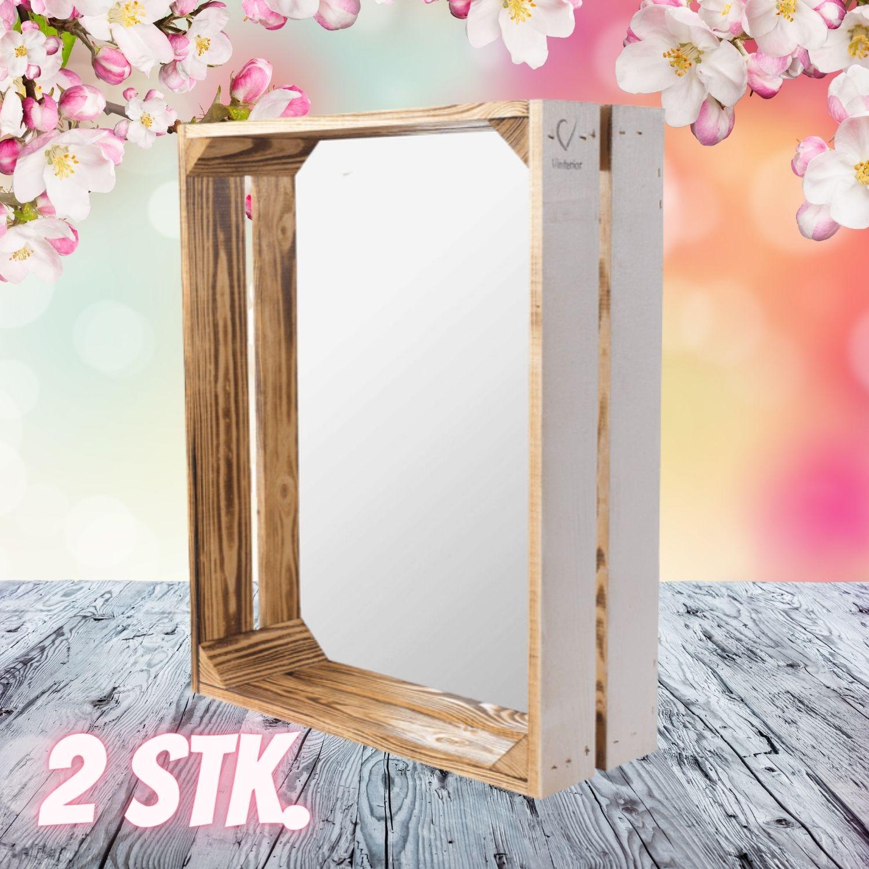2 Stk. Holzkiste mit Spiegel 50x40,5x16cm