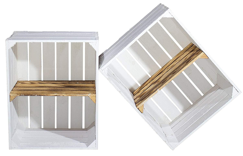 Weiße Holzkiste mit geflammtem Mittelbrett -quer- 50x40x30cm