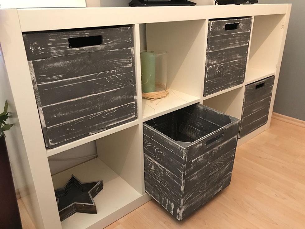 farbige produkte 4er set holzkiste shabby grau f r kallax regale 33x38x33cm obstkisten. Black Bedroom Furniture Sets. Home Design Ideas