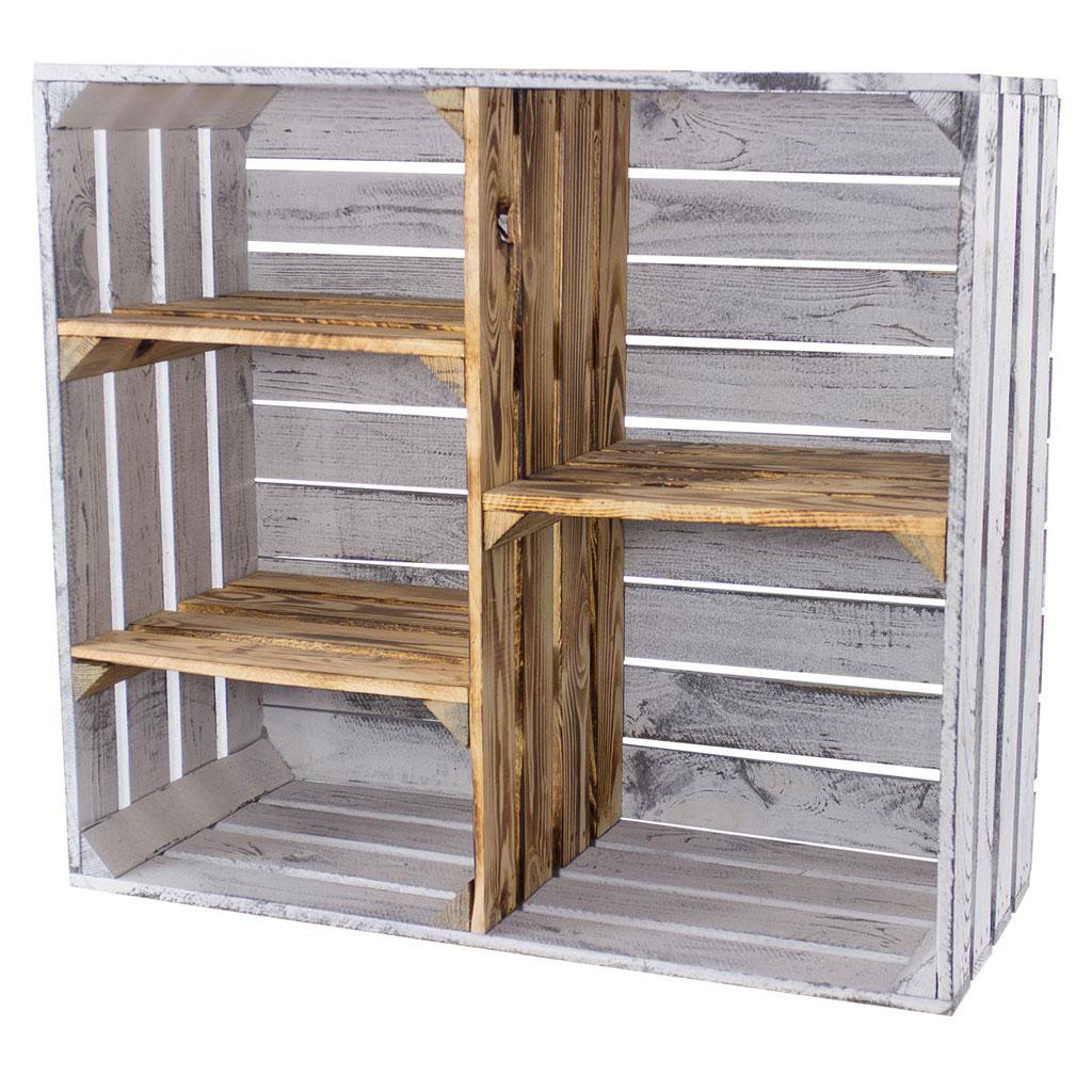 Vintage Design Holzschrank mit 3 Mittelbretter und Trennbrett *shabby white - geflammt* 77x68x35cm