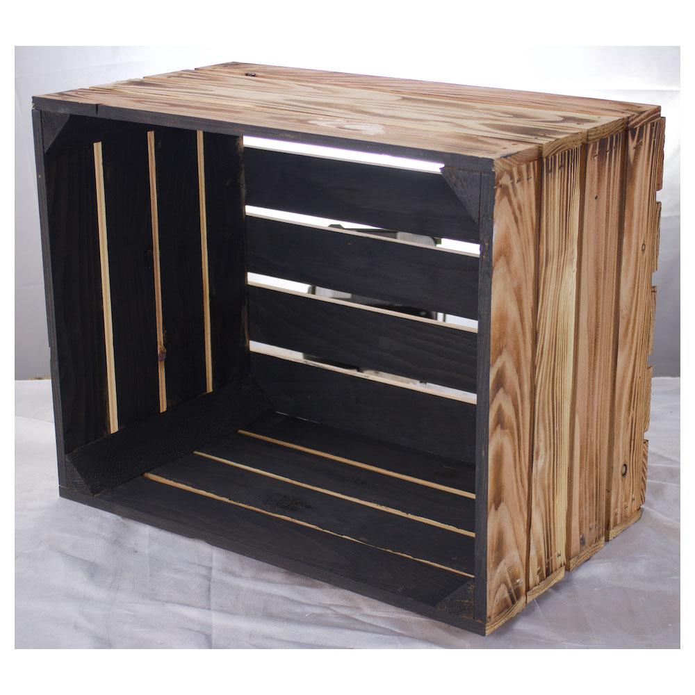 Holzkiste außen geflammt innen schwarz 50x40x30cm
