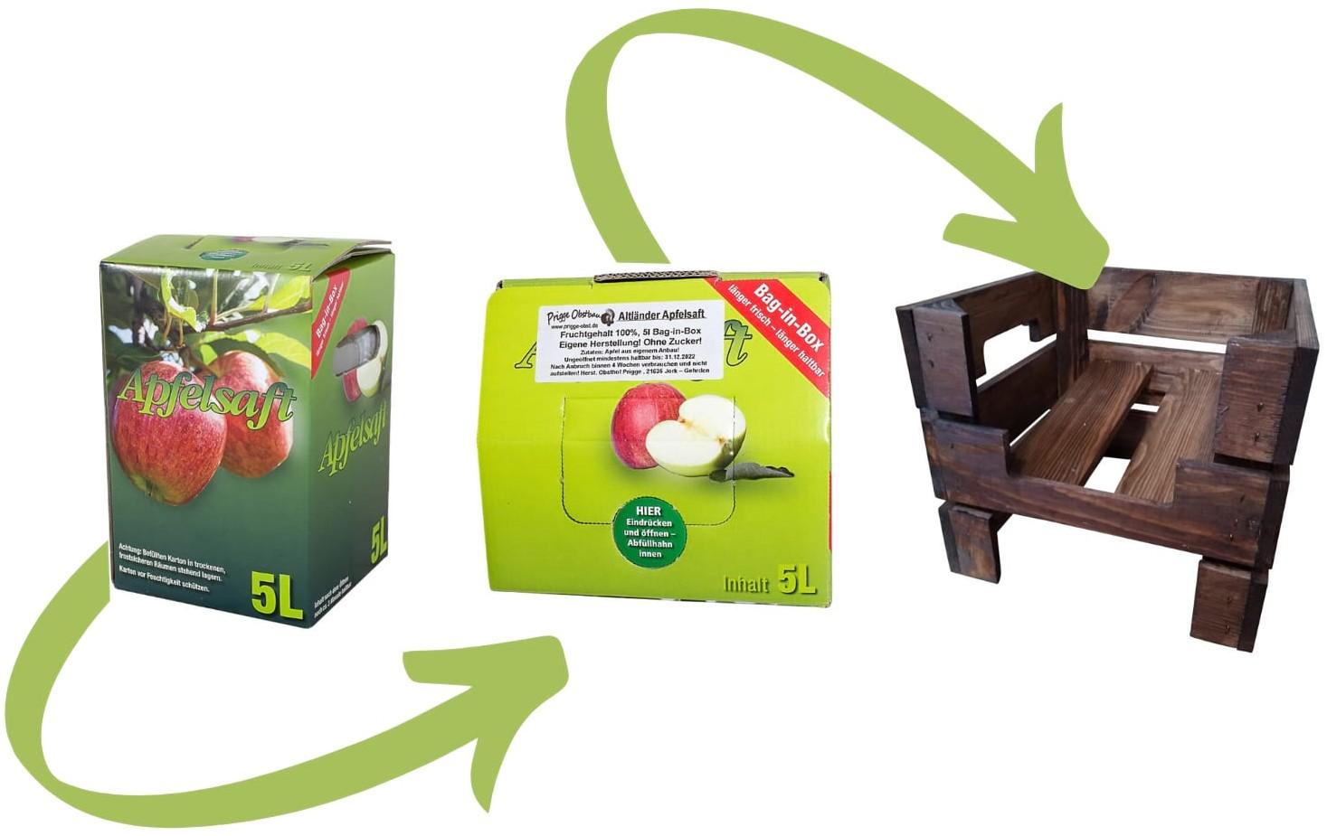 Praktisches Untergestell + 5 Liter Apfelaftbox - im Holzkisten Design - used 29x25x29cm