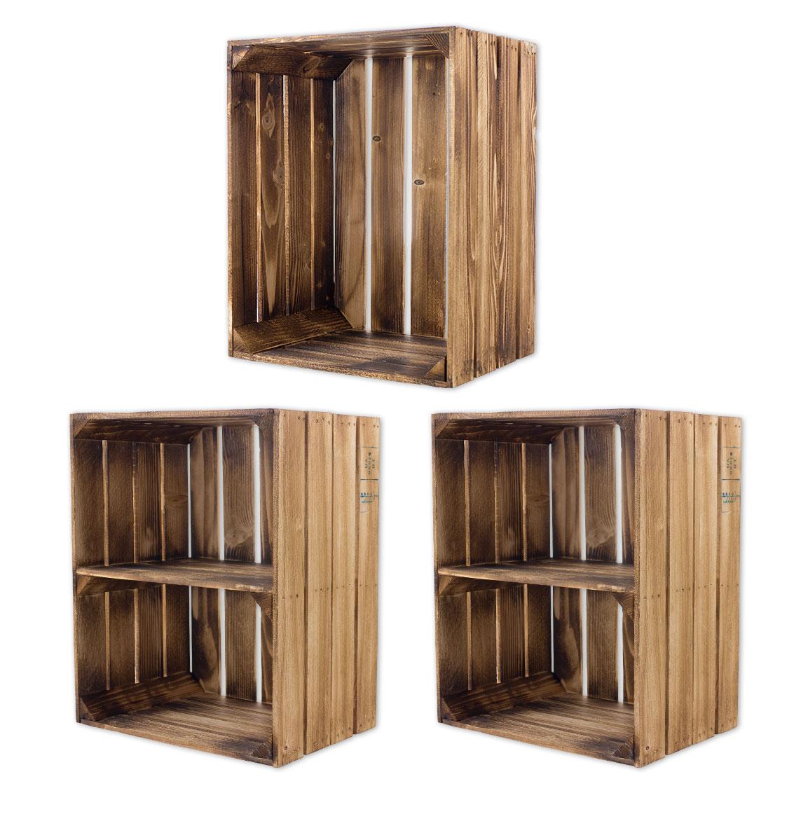 Gemisches Set aus geflammten Holzkisten 50x40x30cm
