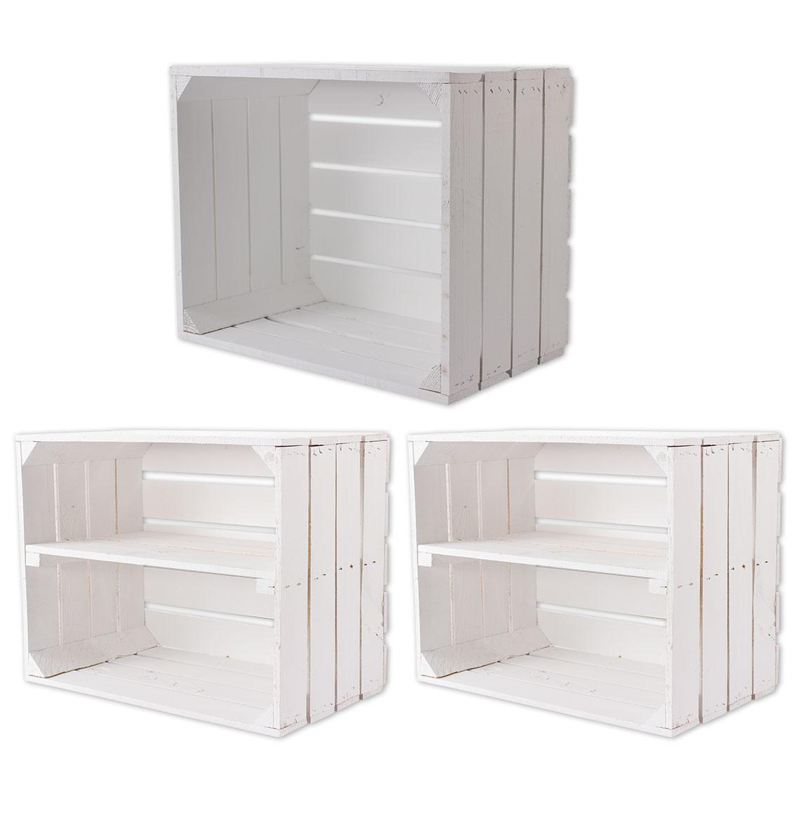 Gemisches Set aus weißen Holzkisten 50x40x30cm