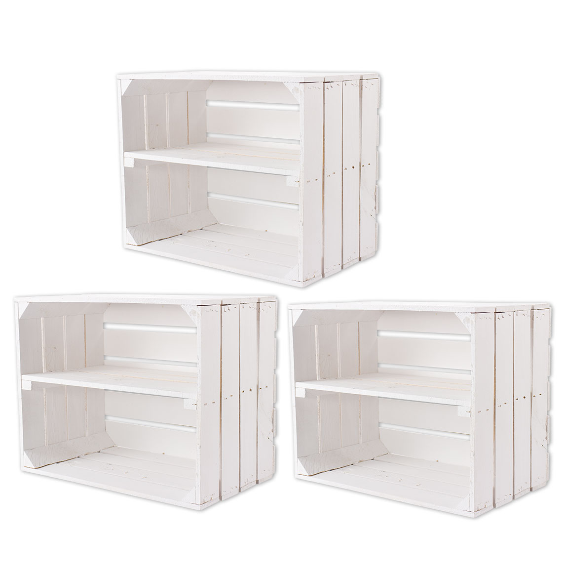 Gemischtes Set aus weißen Holzkisten 50x40x30cm