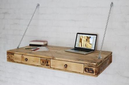 Vinterior Schreibtisch aus Palettenholz mit Kettenaufhängung 120x80x15cm