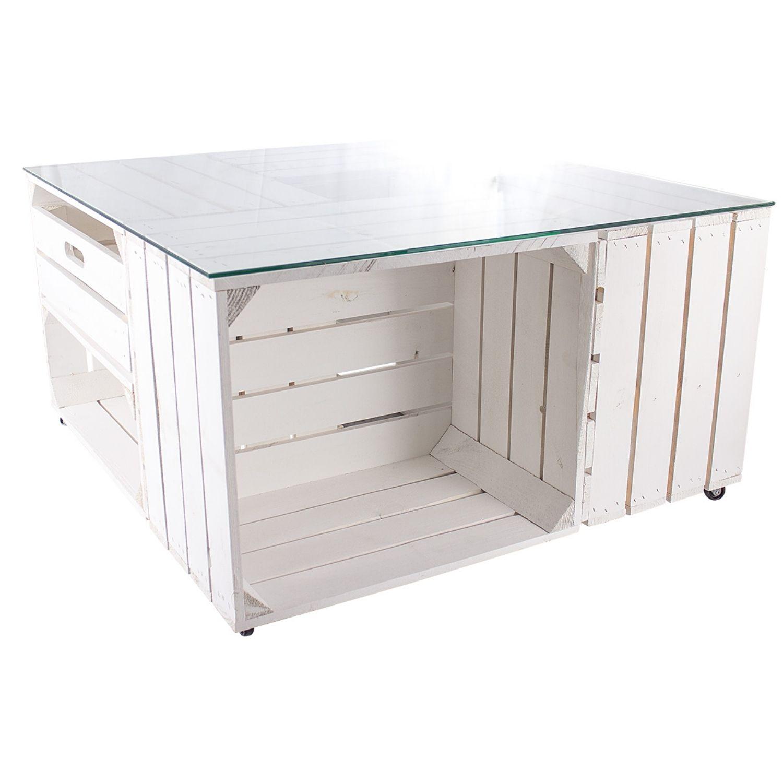 Couchtisch aus weißen Apfelkisten auf Rollen und Schublade inkl. Glasplatte 81x81x44cm