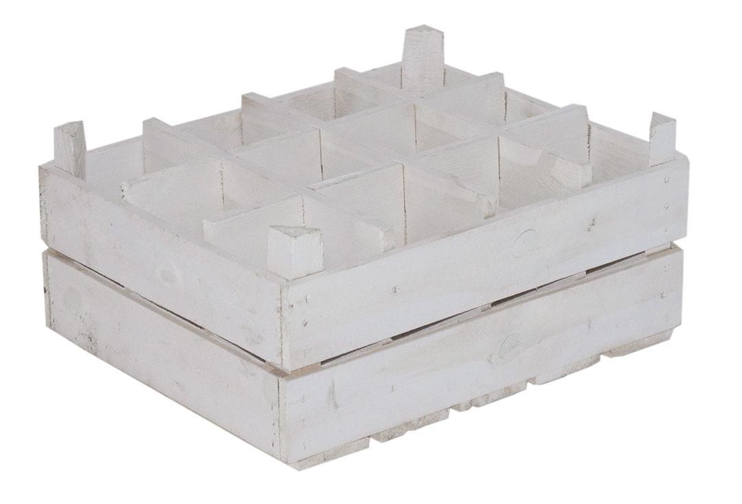 Weiße Kiste als Flaschenregal 50x40x23cm