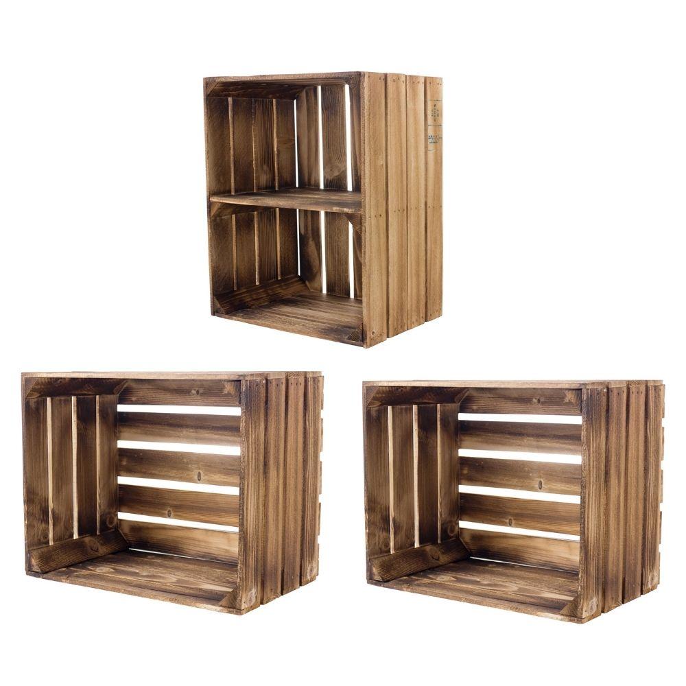 Gemischtes Set aus geflammten Holzkisten 50x40x30cm