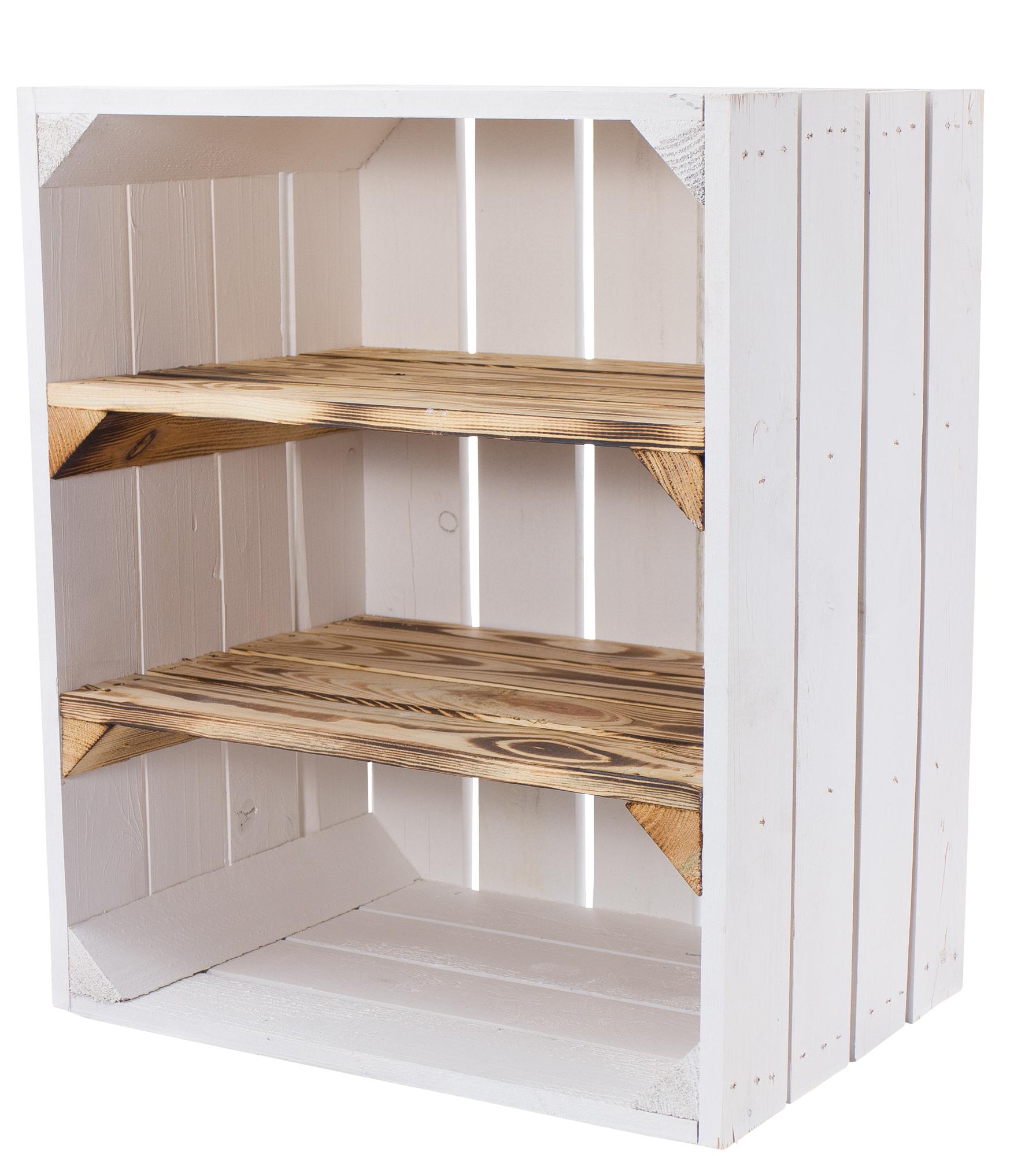 24x Weiße Holzkiste mit 2 geflammten Mittelbrettern -quer- 50x40x30cm