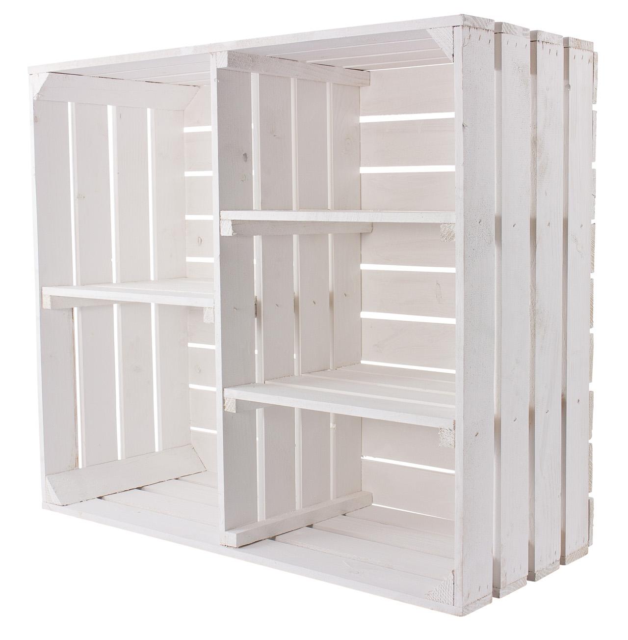 Weißer Holzschrank mit 3 Mittelbrettern und Trennbrett 77x68x35cm