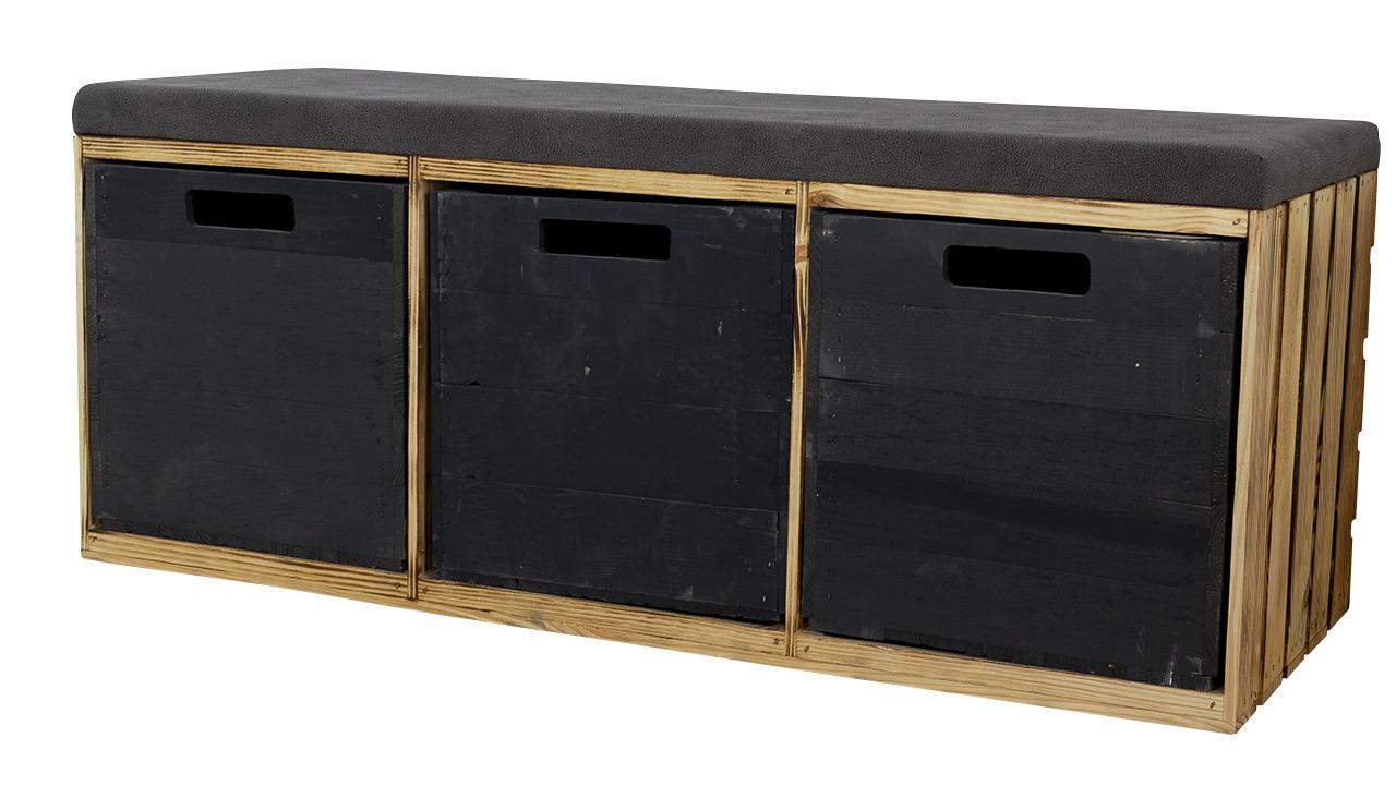 Geflammte Sitzbank im Obstkisten Design mit Sitzpolster und 3 Kallax Einschubkisten 105x43x39xcm