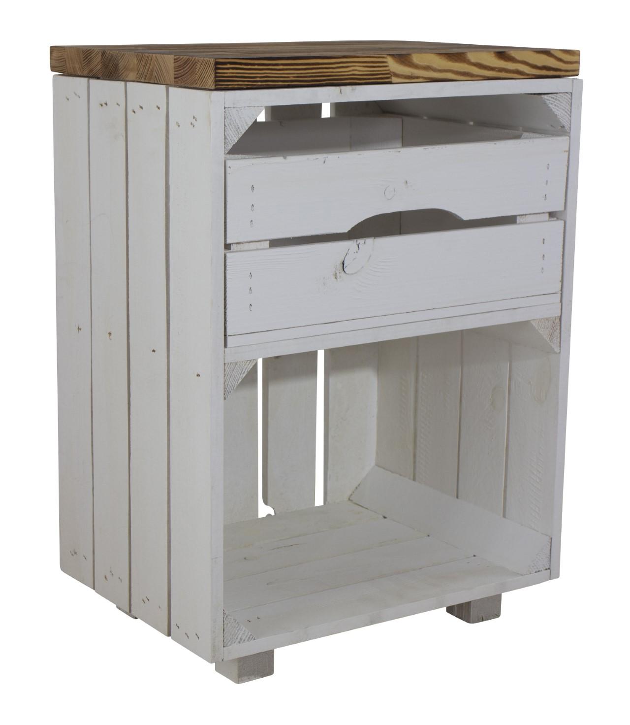 Weißer Nachttisch mit Schublade und  geflammtem Bohlenbrett 30,5x40x57cm