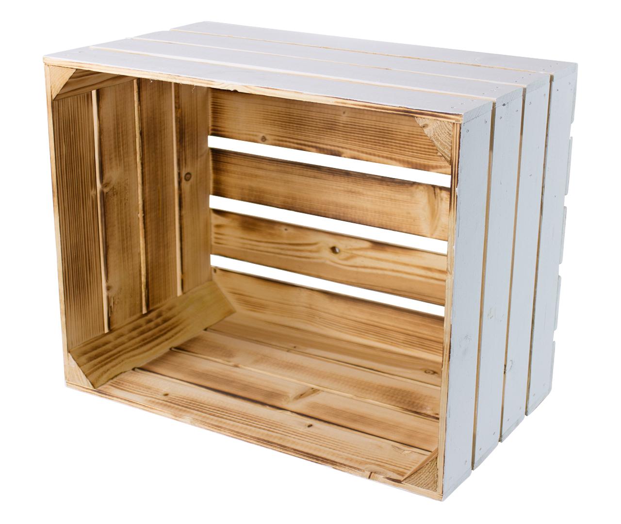 Holzkiste außen weiß innen geflammt 50x40x30cm