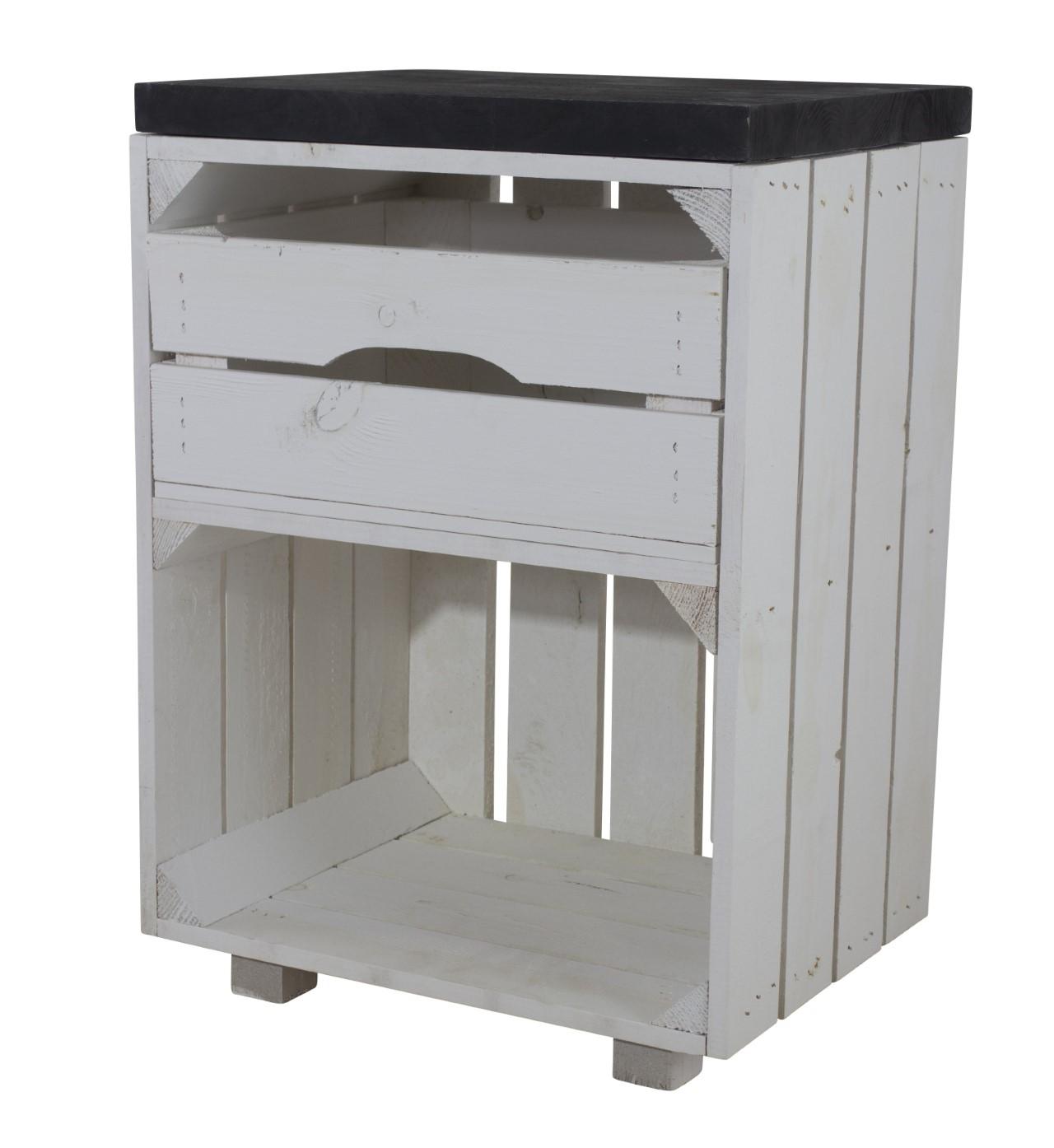 Weißer Nachttisch mit Schublade und einem schwarzen Bohlenbrett 30,5x40x57cm