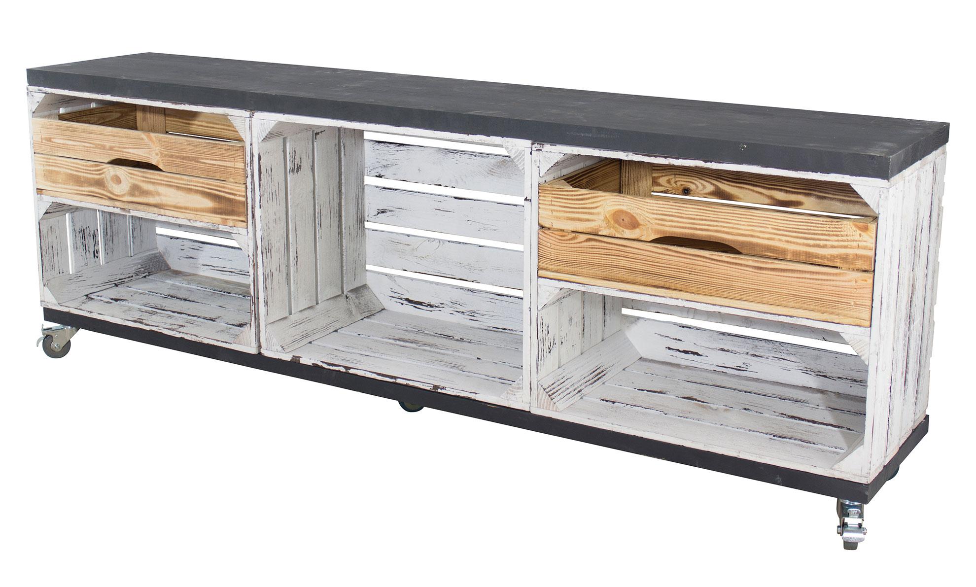 Holzkisten Mit Schubladen Tv Schrank Aus 3 Kisten In Grau