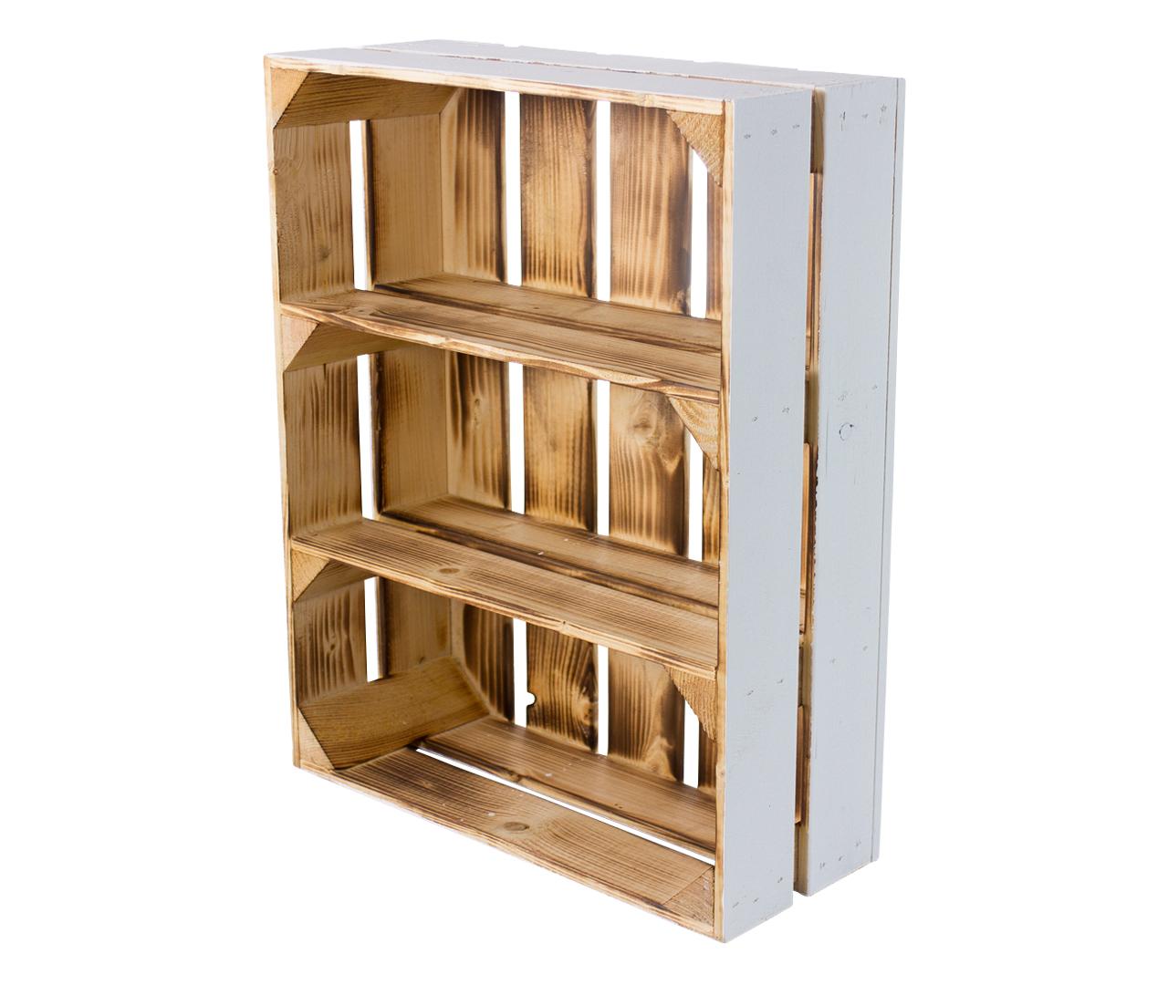 Schmale Holzkiste außen weiß innen geflammt 50x40,5x16cm