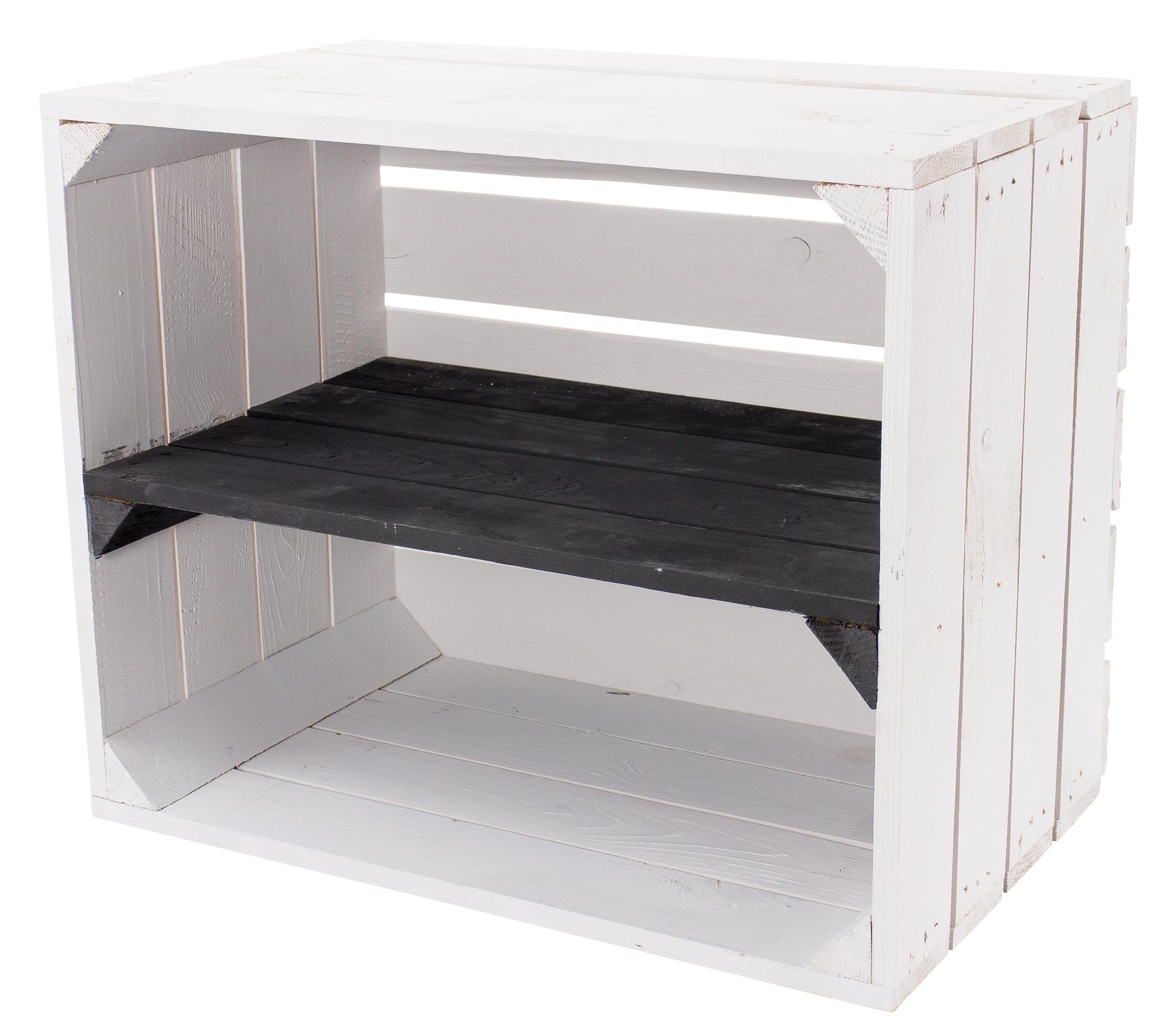 Weiße Holzkiste mit schwarzem Mittelbrett -längs- 50x40x30cm