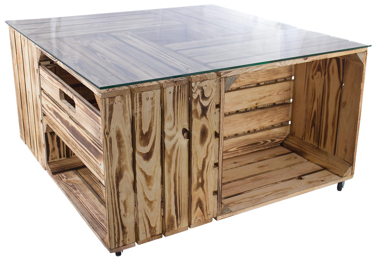 Tisch aus versch. geflammten Kisten mit Schublade & Glasplatte 81x81x44cm
