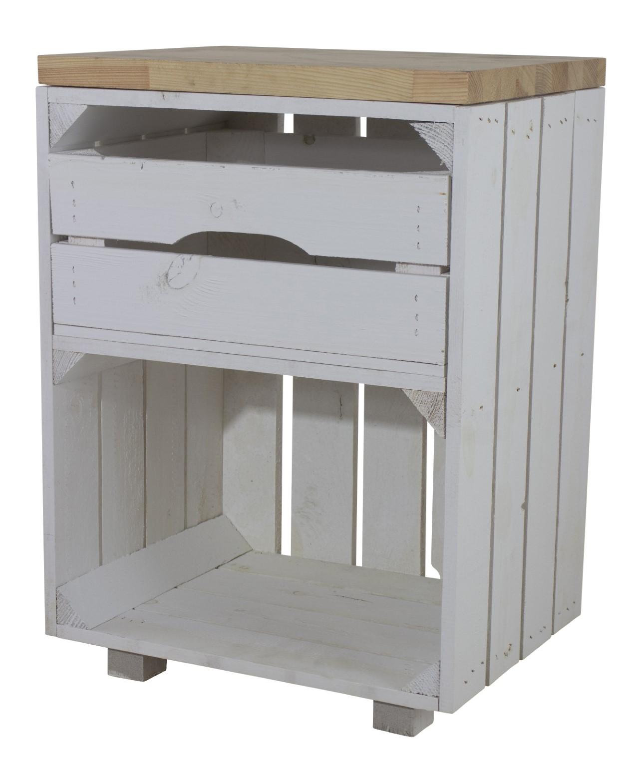 Weißer Nachttisch mit Schublade und Bohlenbrett in natur 30,5x40x57cm