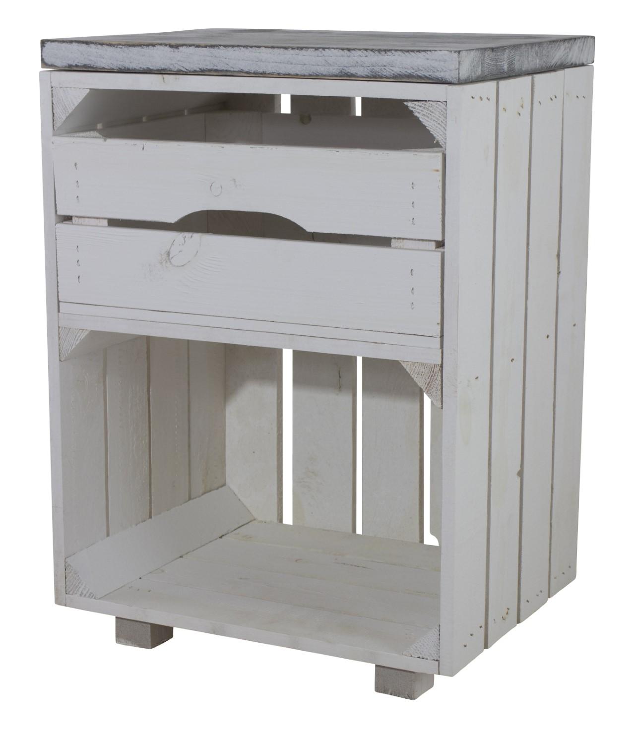 Weißer Nachttisch mit Schublade und einem Bohlenbrett in shabby weiß 30,5x40x57cm