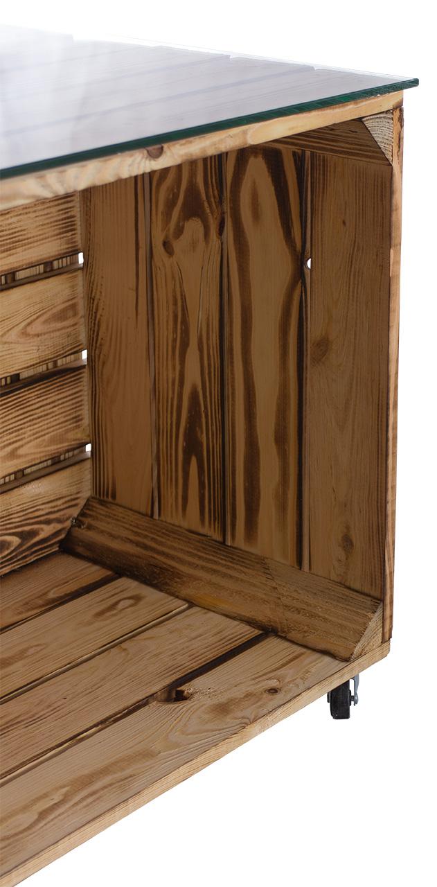 Möbel : Tisch aus versch. geflammten Kisten mit Schublade