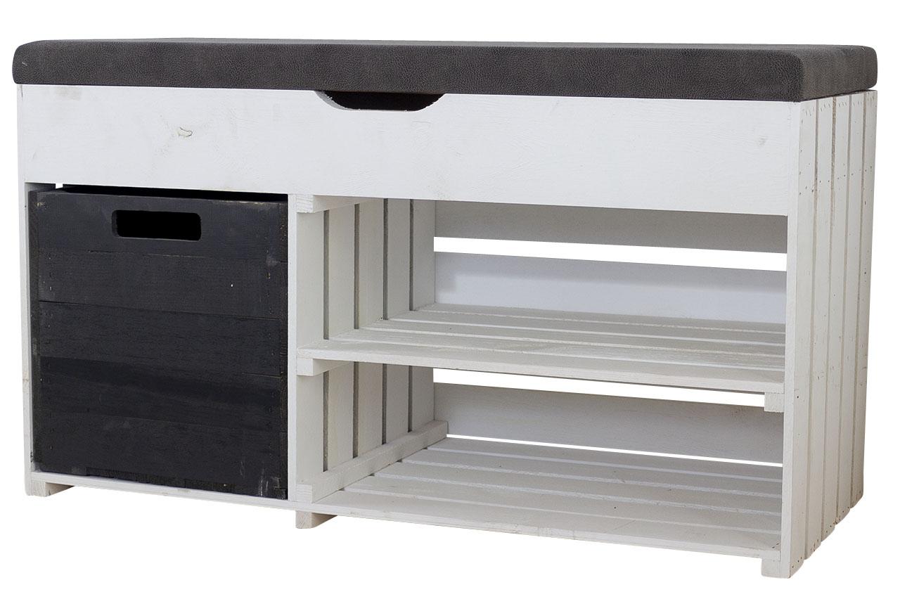 Gepolstertes, weißes Sitzregal mit Stauraum durch praktische schwarze Holzkiste / Regalboden / 90x52x39cm