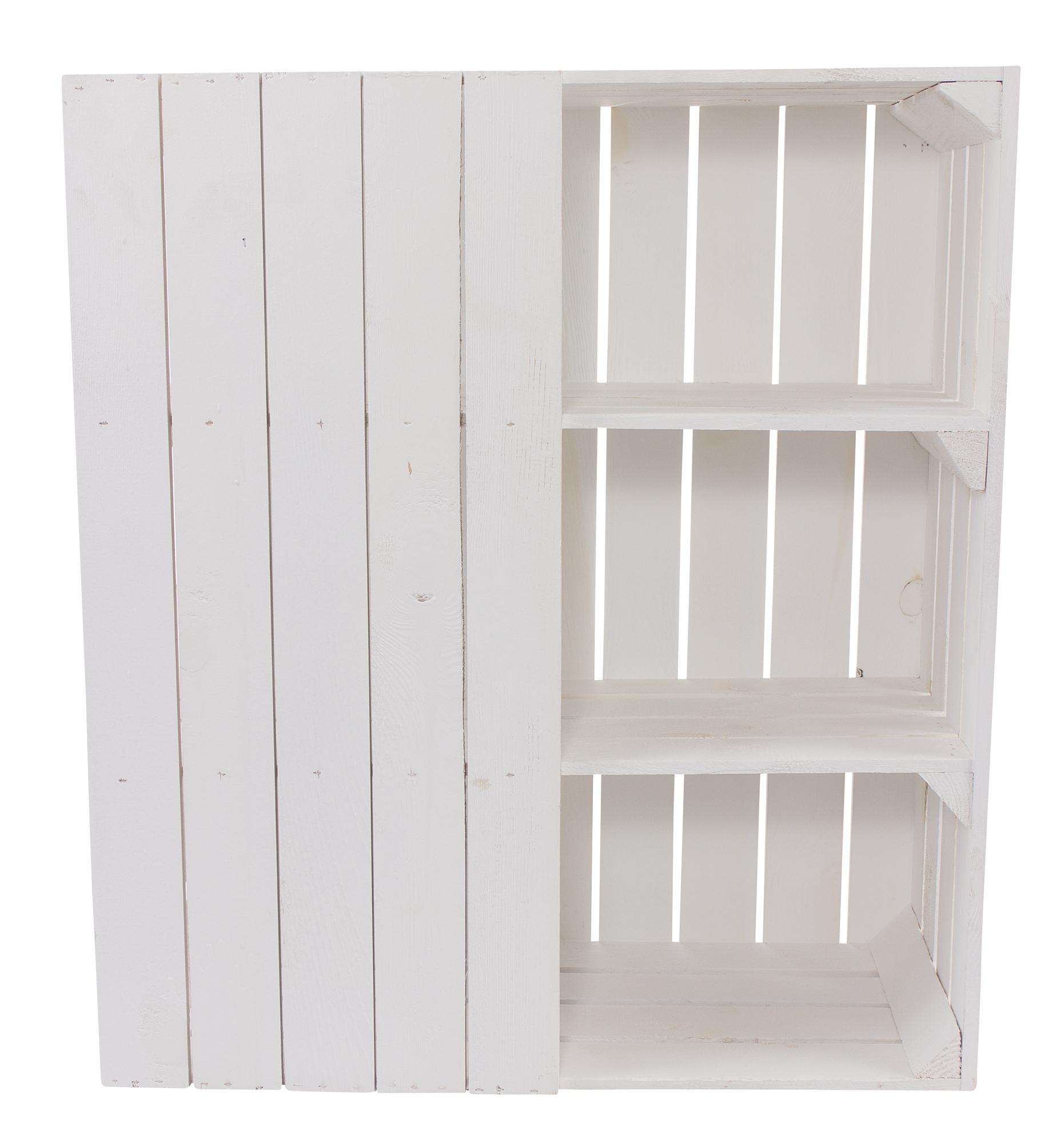 Schreibtisch Unterbau aus weißen Holzkisten (links) 74x65x35cm