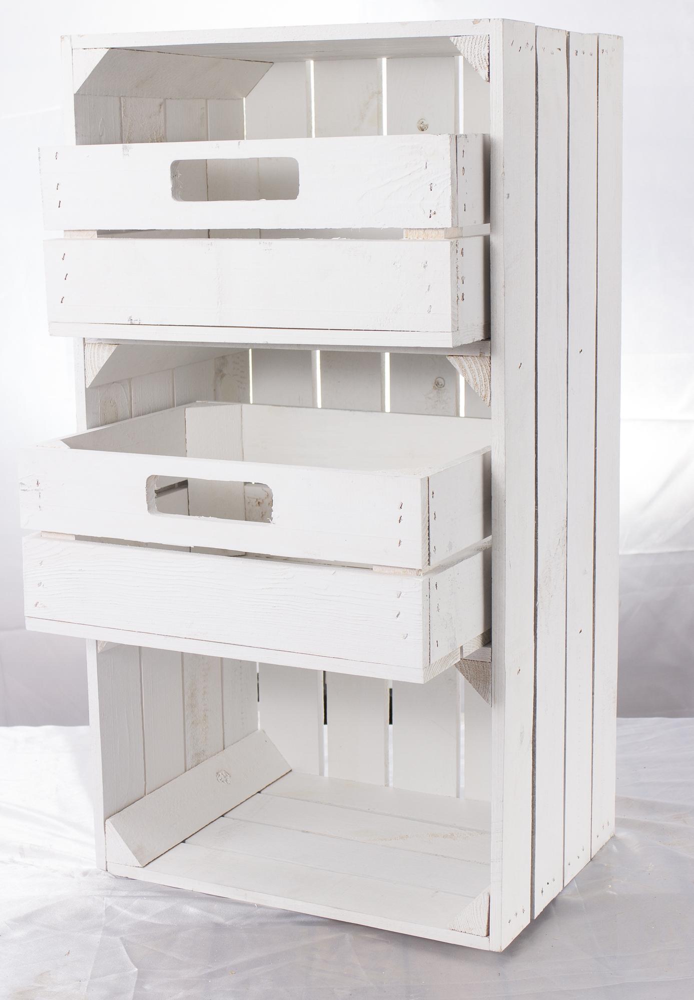 4x Weiße schmale Regalkiste mit Schubladen