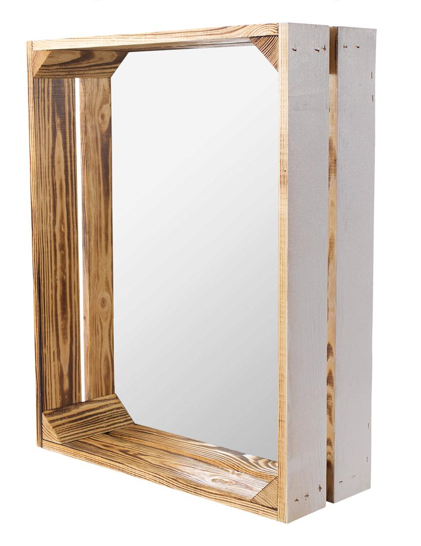 Holzkiste mit Spiegeltür außen weiß innen geflammt 50x40,5x16cm