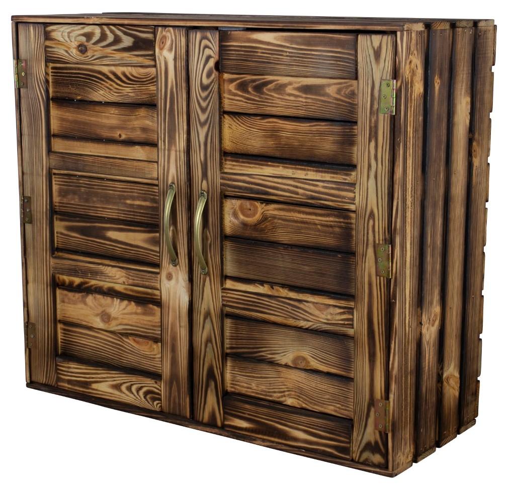 Geflammter Holzschrank mit Türen / 3 Mittelbretter 77x68x35cm