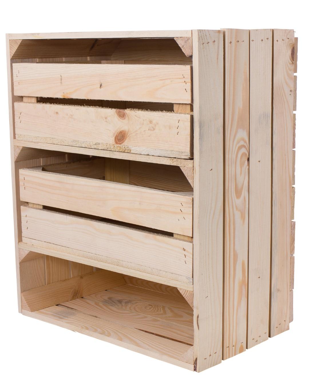 Regalkiste hoch mit 3 Fächern und 2 Schubladen Natur 61x50x31cm