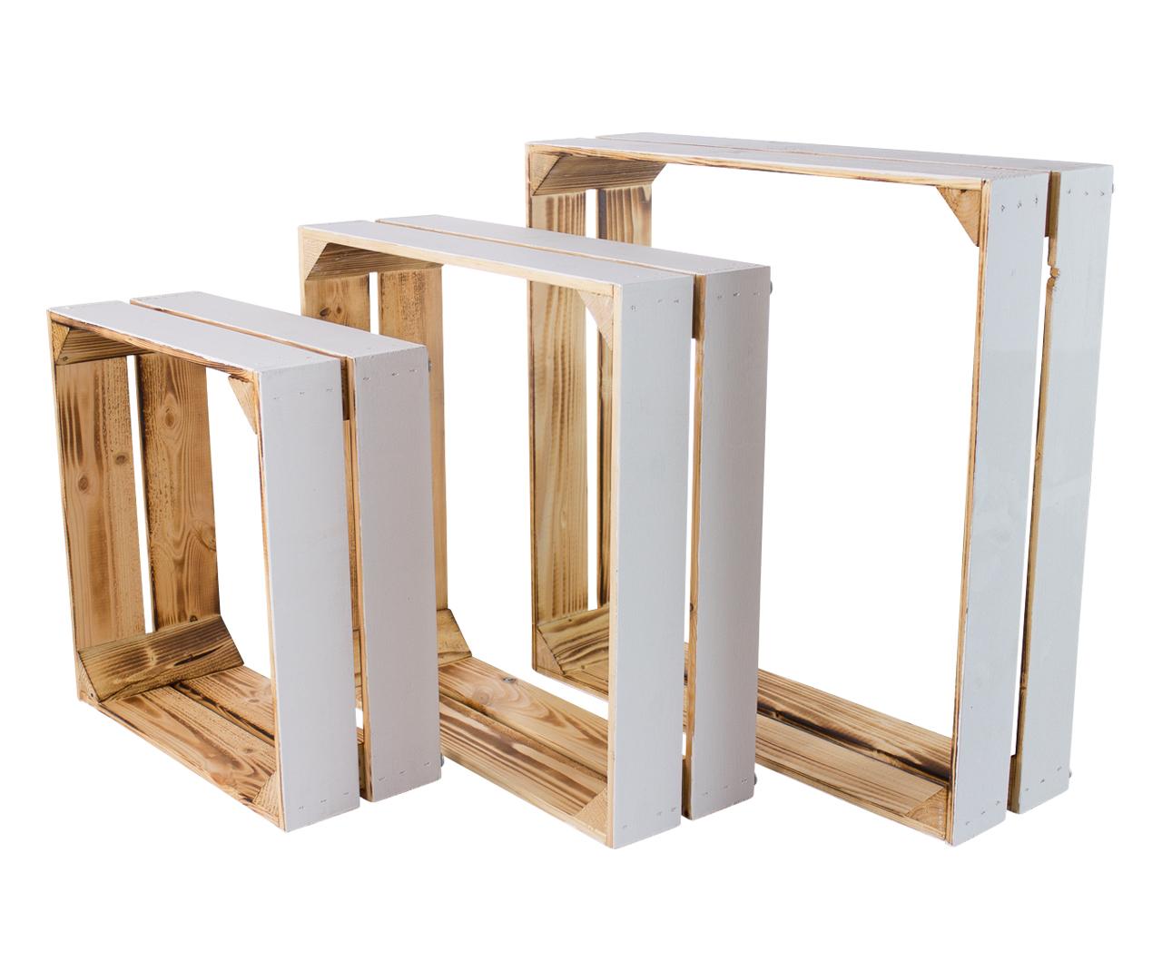 Dekokiste in drei praktischen Größen Weiß Geflammt Rustikal Massivholz Möbelstück Accessoire