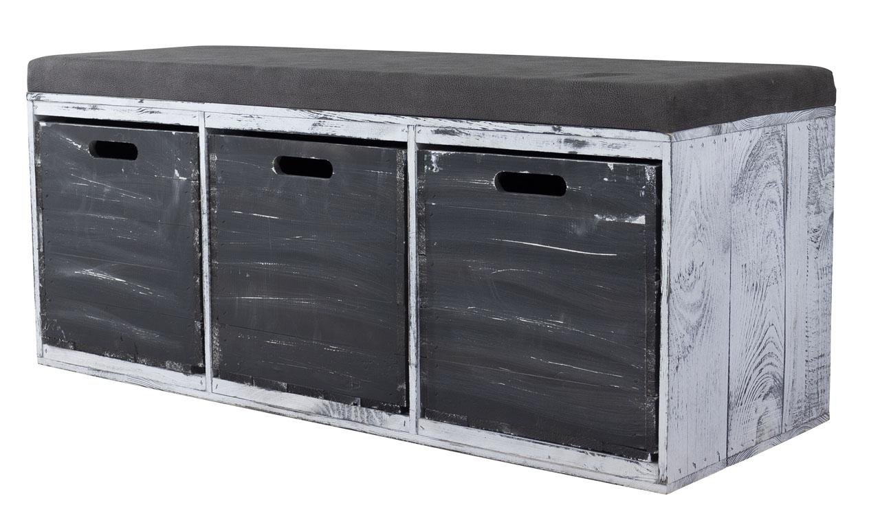 Tolle Sitzbank Shabby Schwarz gepolstert, mit drei geräumigen Kallax Kisten
