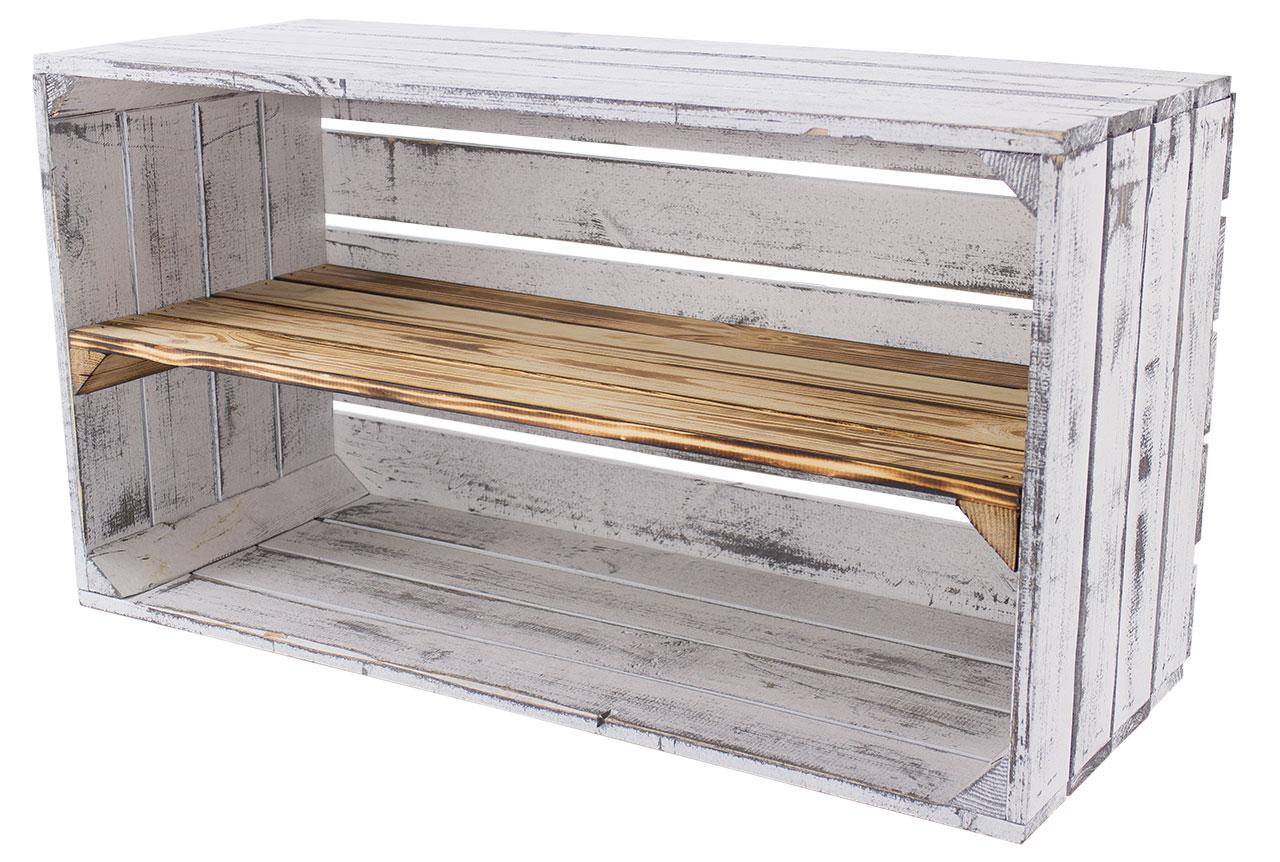 Breite Regalkiste im Vintage Design *shabby white - geflammt* 68x40,5x31cm