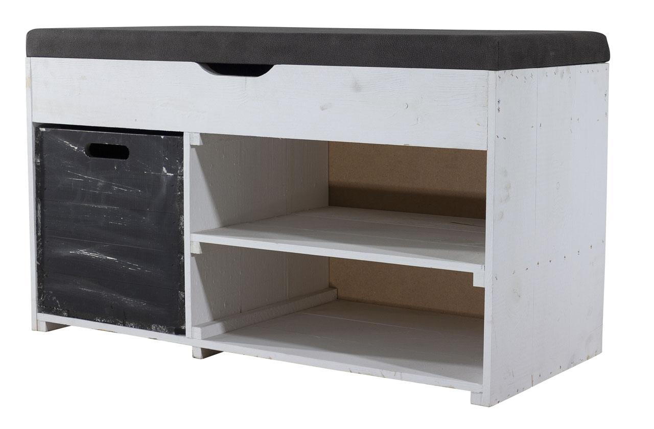 Weiße Sitzbank (Truhe) im Obstkisten Design mit Sitzpolster und Kallax Einschubkiste 90x52x39cm