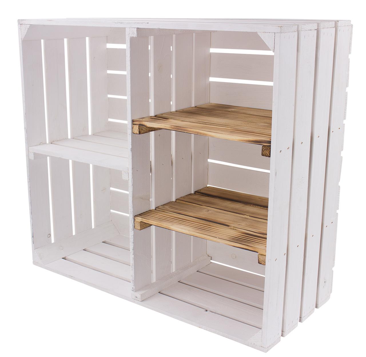 Shabby Chic Holzschrank mit 3 Mittelbretter und Trennbrett 77x68x35cm