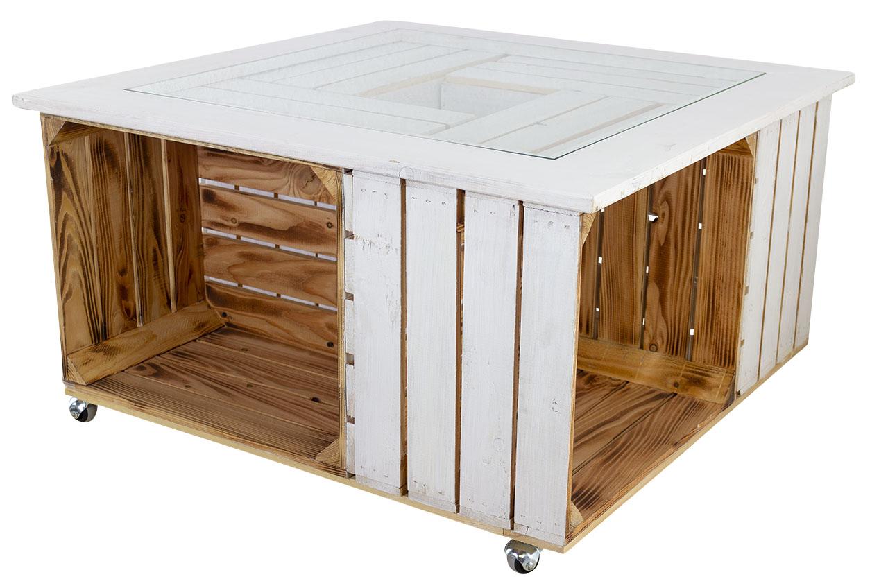 Stylischer Tisch aus 4 Holzkisten & stabiler Glasplatte für Einrichtungen im Landhausstil / 85x85cm